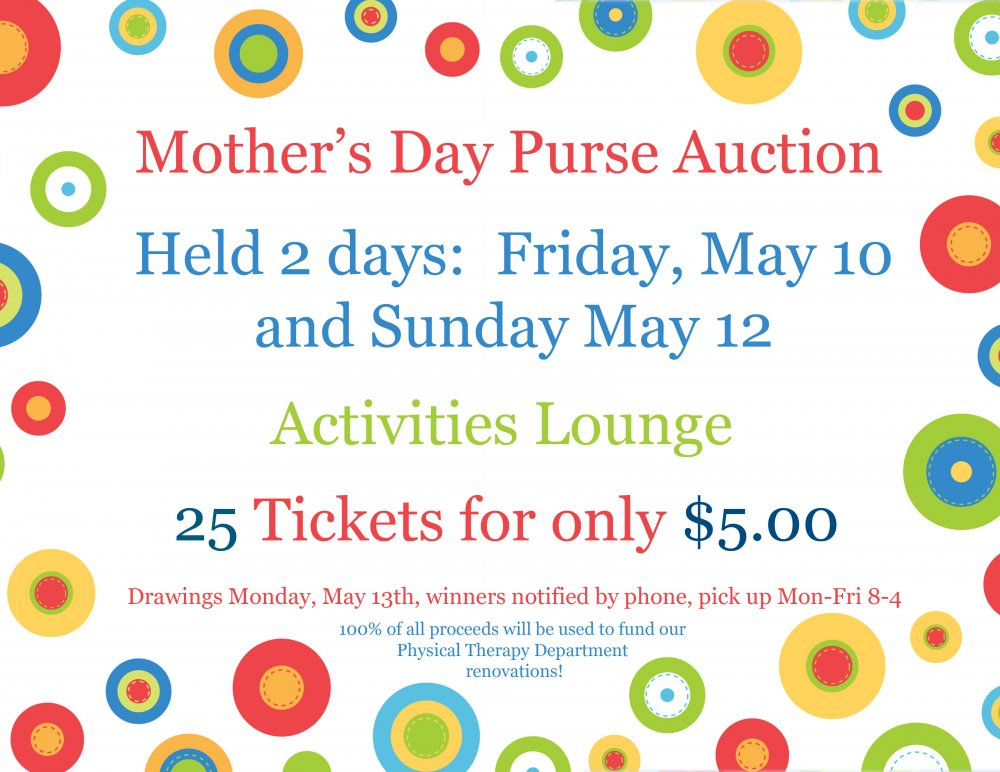 Our Volunteers Present Their Annual Purse Auction May 10 & May 12th, 2019!